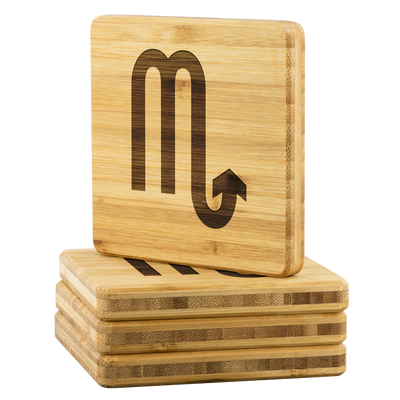 Zodiac Scorpio Bamboo Coaster (set of 4)