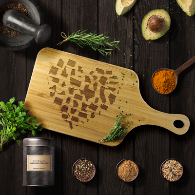 USA States Heart Wood Cutting Board With Handle