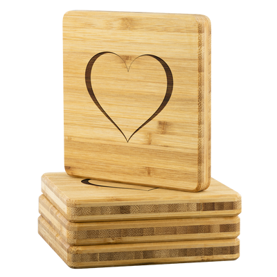 Trace of Heart Bamboo Coaster