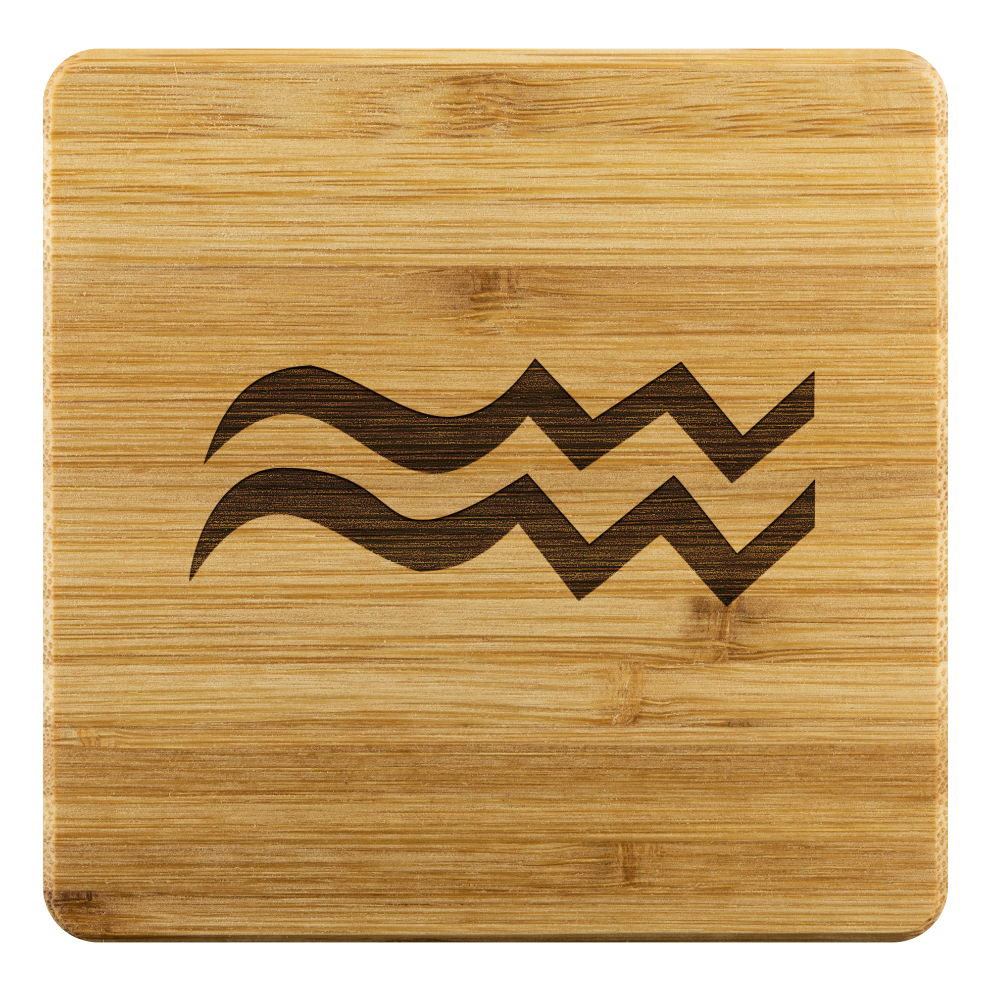 Zodiac Aquarius Bamboo Coaster