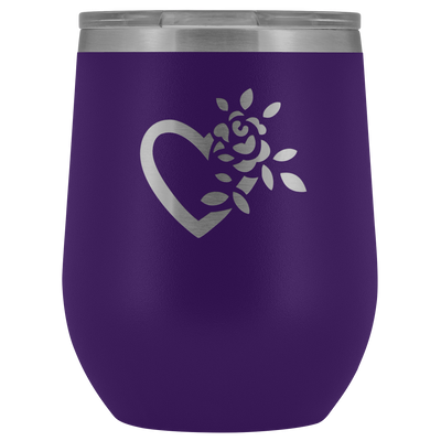 Laser etched flowering heart Wine Tumbler