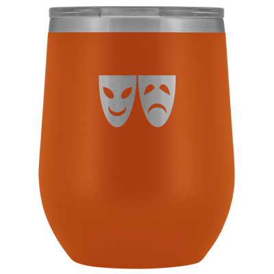 Happy and Sad Face masks stainless steel vacuum insulated Stemless Wine Tumbler with clear lid