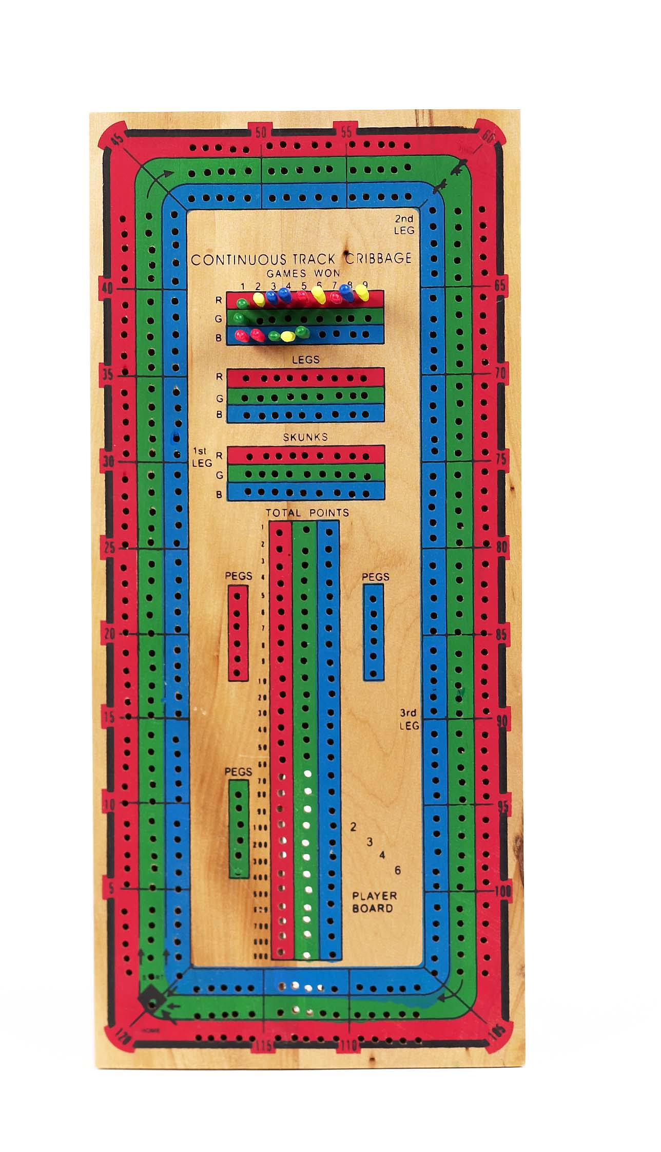 Continuous Triple Track Wood Cribbage board