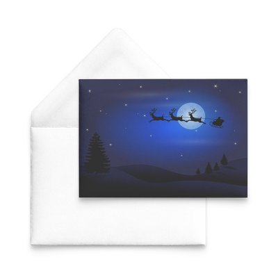 Santa sleigh reindeer silhouette in the moon - Flat Greeting Card (Pack of 10/30/50 pcs)