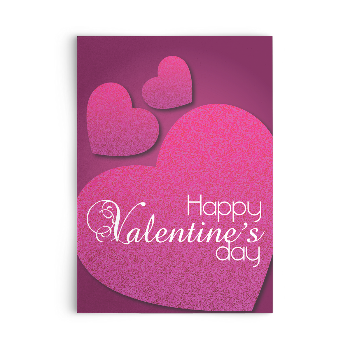 Happy Valentine's day with hearts - Flat Greeting Card (Pack of 10/30/50 pcs)