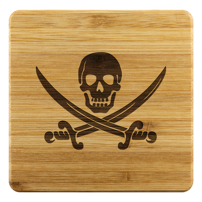 Pirate skull and cross swords - Bamboo coaster (set of 4)