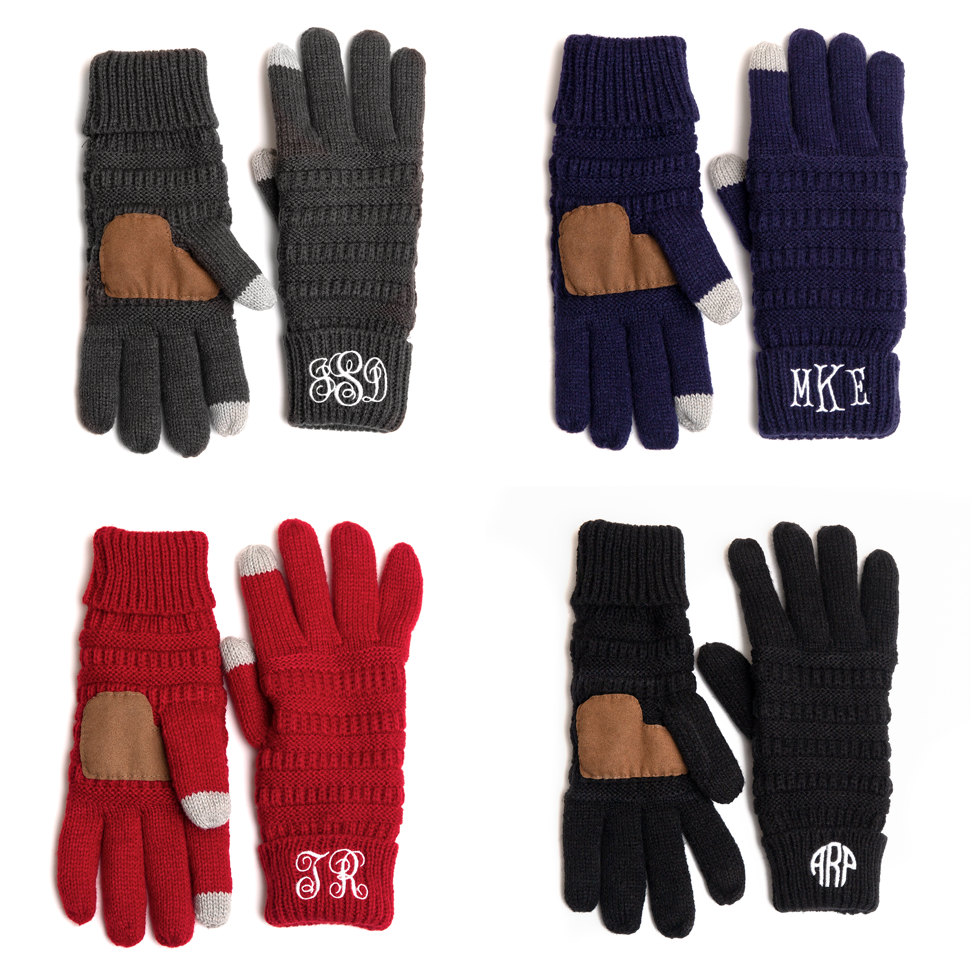 Monogrammed hand gloves with Touchscreen Thumb and Index Finger Tips