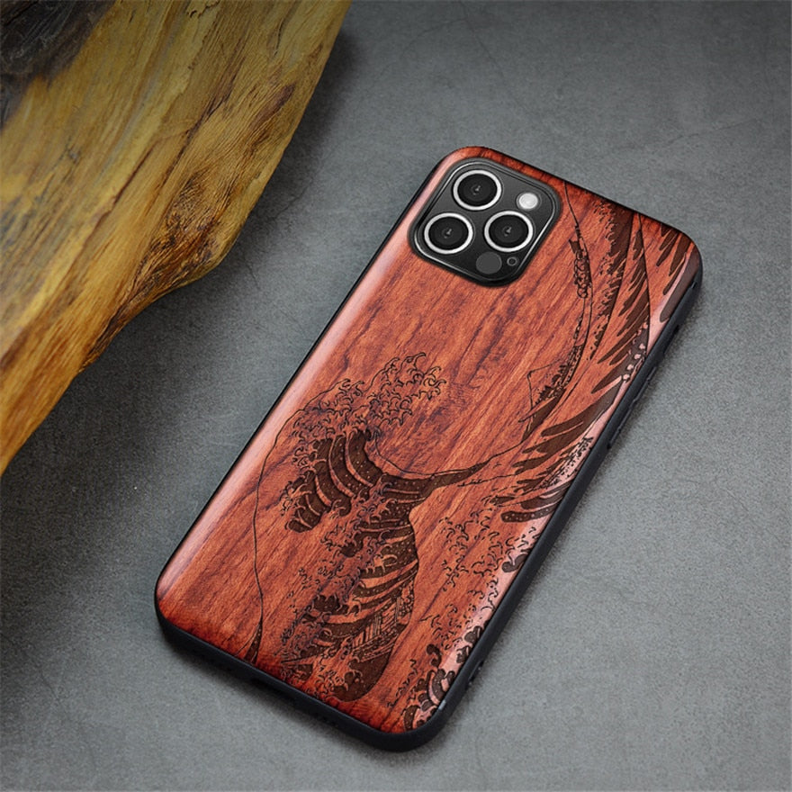 Patterned wood case for iPhone 12 and iPhone 12 Pro