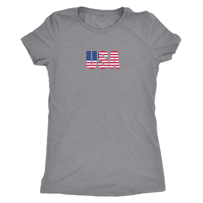 USA spelled with flag design -  Triblend T-Shirt