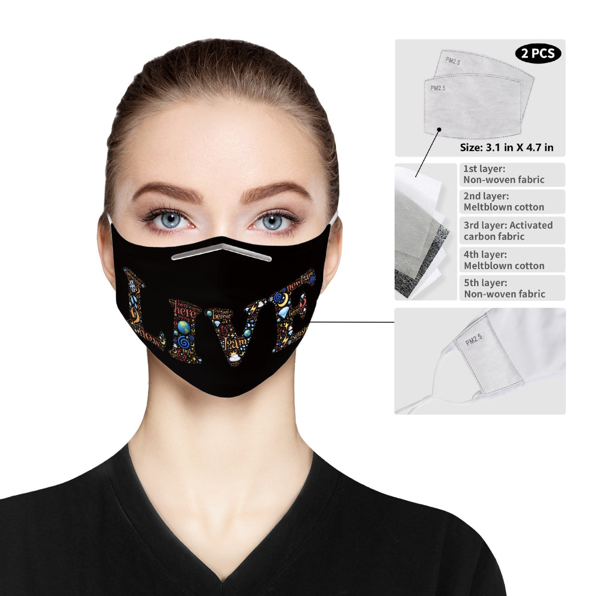 Live - Cloth Face Mask For Adults