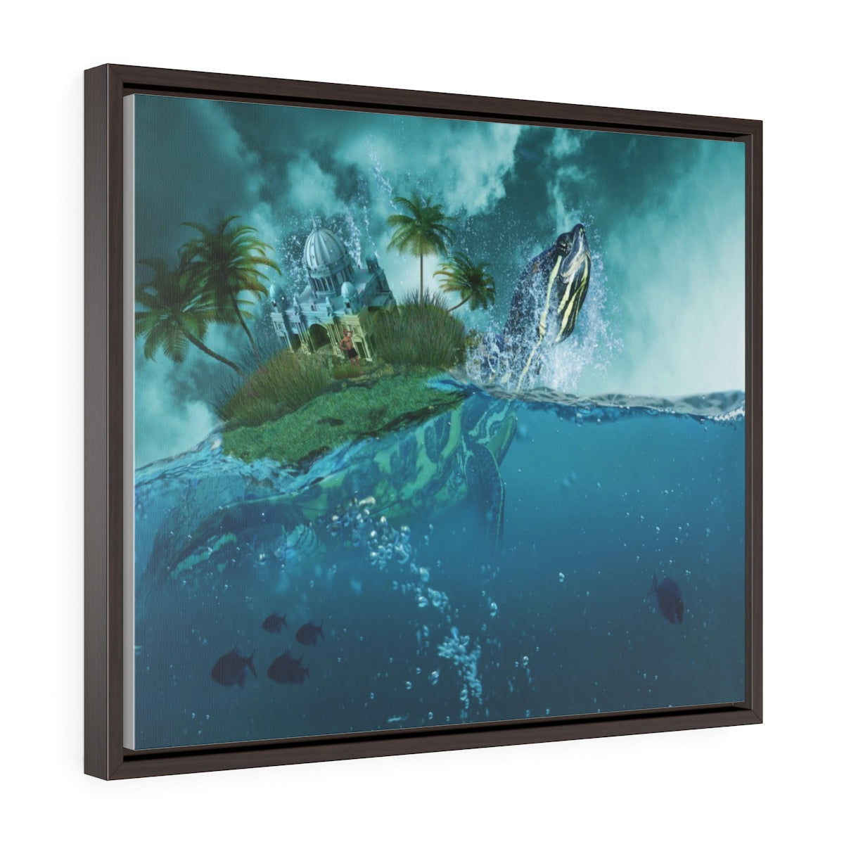 The turtle - Horizontal Framed Premium Gallery Wrap Canvas