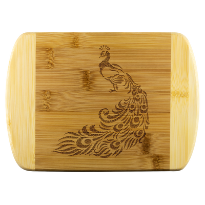Peacock - Round Edge Wood Cutting Board
