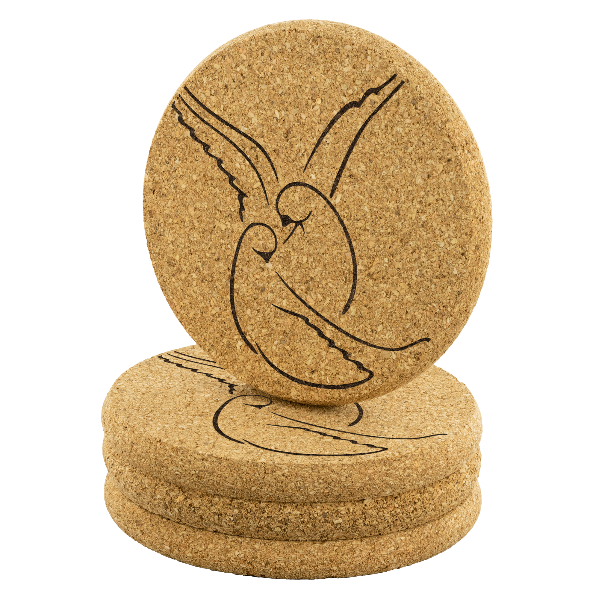 Dove in love - Round Cork Coaster (set of 4)