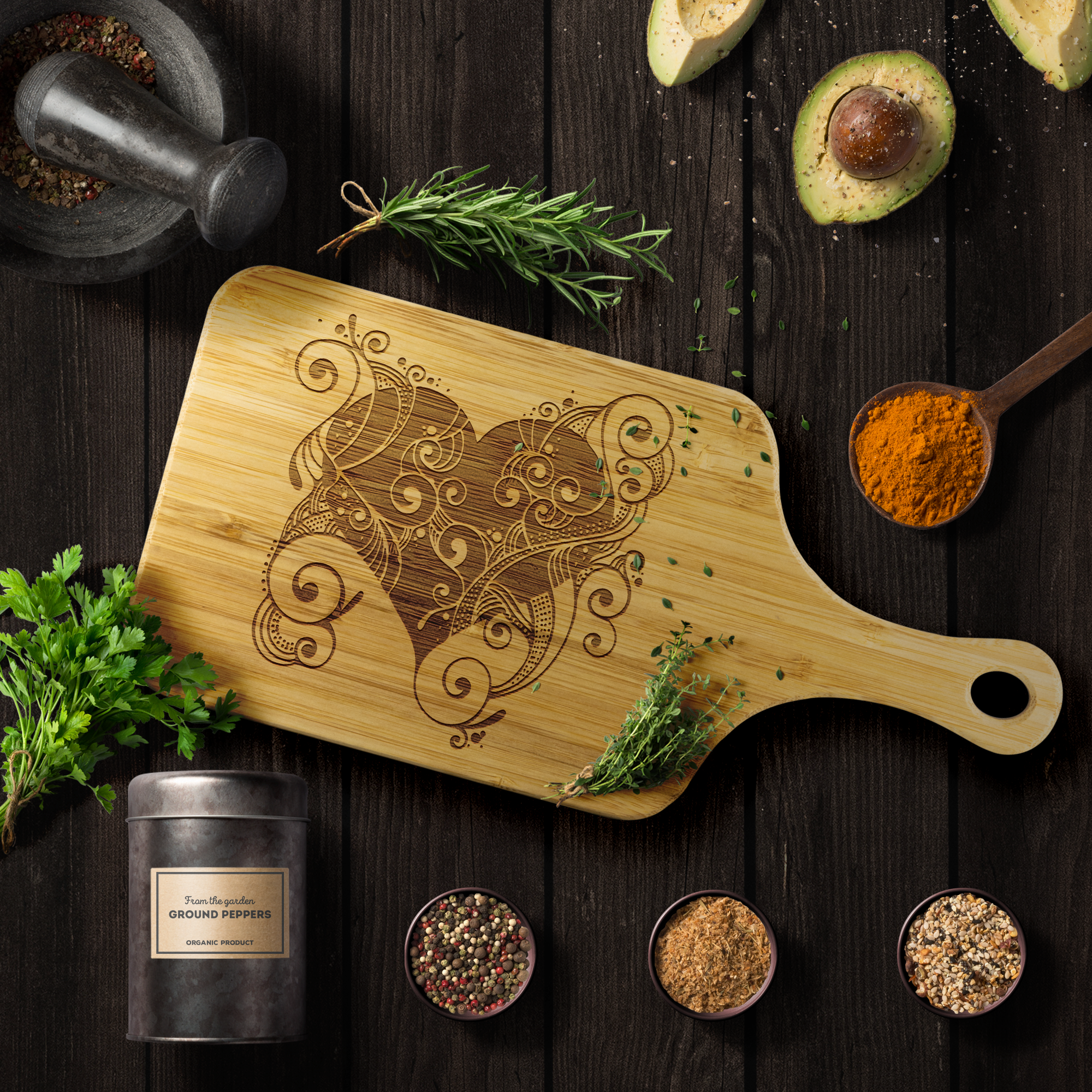 Floral Heart - Wood Cutting Board With Handle
