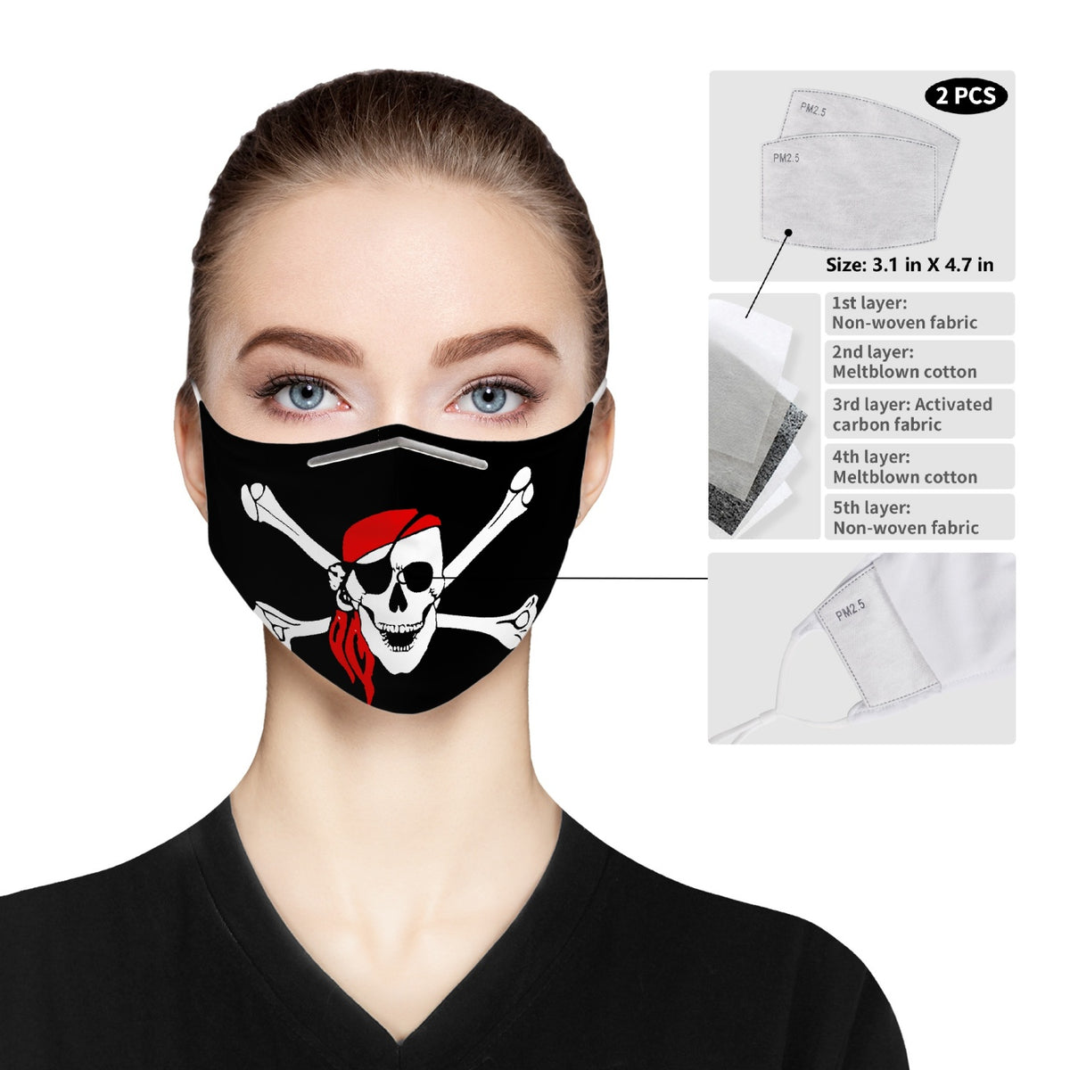 Pirate skull cross bones Cloth Face Mask For Adults