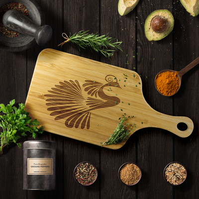 Abstract bird - Wood Cutting Board With Handle