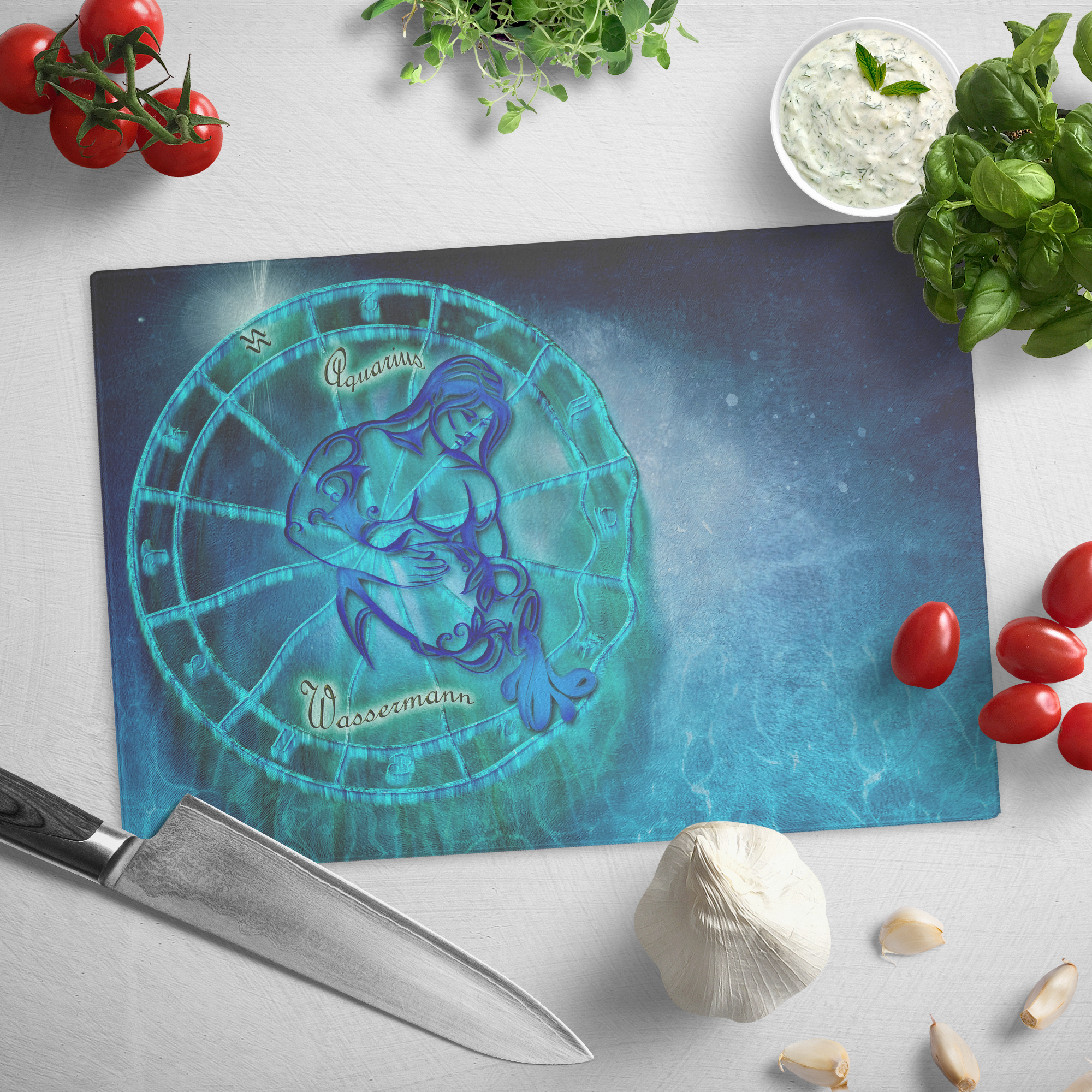 Zodiac Aquarius - Glass cutting board