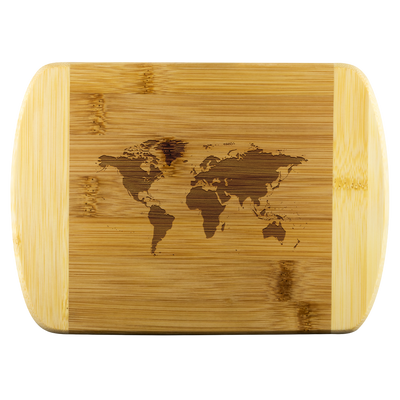 World map - Round Edge Wood Cutting Board