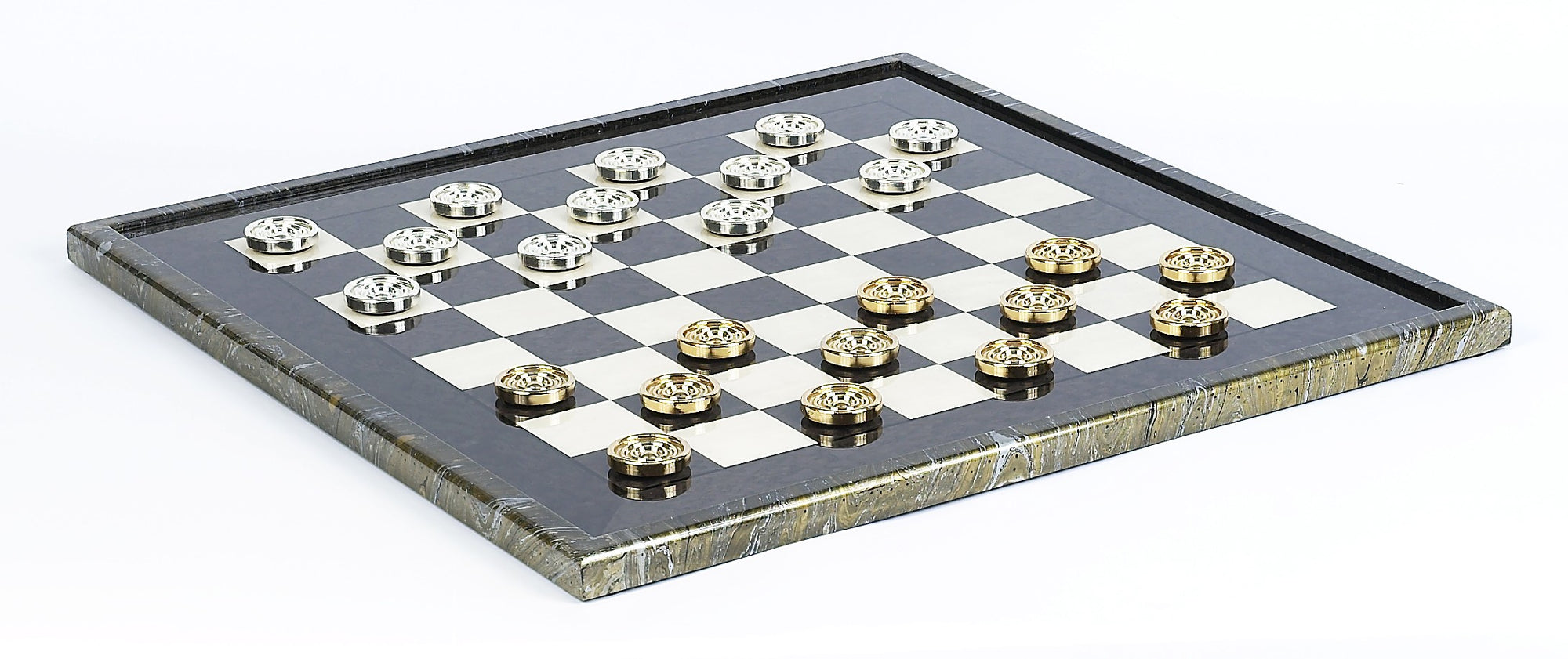 Giant Gold and silver Checkers on Magnificent Board
