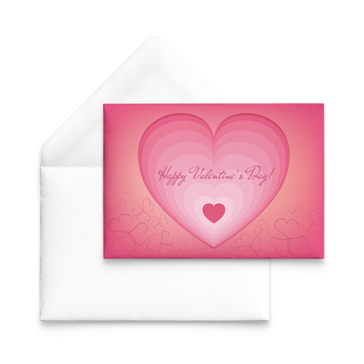 Happy Valentine's day hearts within heart - Flat Greeting Card (Pack of 10/30/50 pcs)