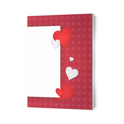 Red hearts Folded Greeting card  (Pack of 10/30/50 pcs)