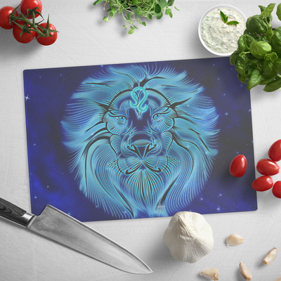 Zodiac Leo sign, Lion face - Glass cutting board