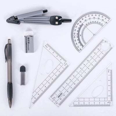 Math Geometry Kit 8 Pieces - Compass, Protractor, Rulers, Pencil Lead Refills, Pencil, Eraser