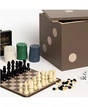 5 in 1 Backgammon, checkers, chess, dice, cards, and poker chips