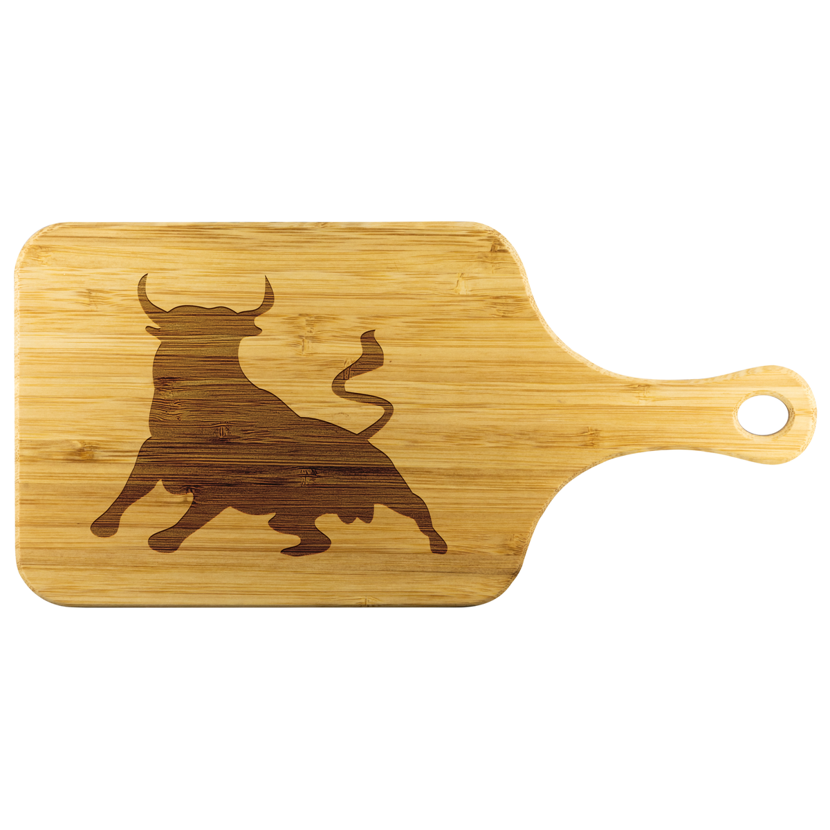 Wall Street bull - Wood cutting board with handle