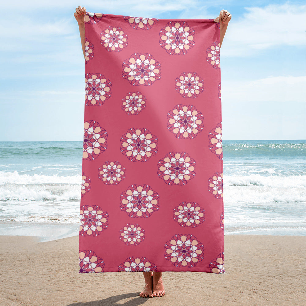 Pink Kaleidoscope Beach Towel