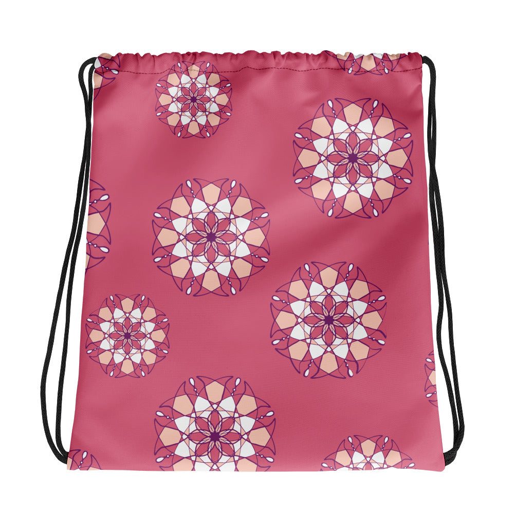 Pink Kaleidoscope Drawstring bag