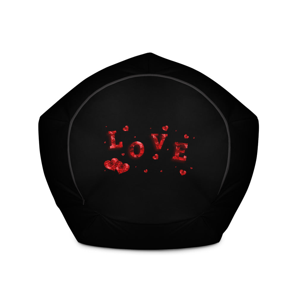 Love hearts black and red Bean Bag Chair w/ filling