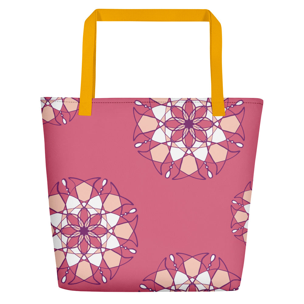 Pink Kaleidoscope Beach Bag
