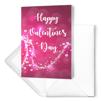 Happy valentines day - Heart Lines - Folded Greeting card (Pack of 10/30/50 pcs)
