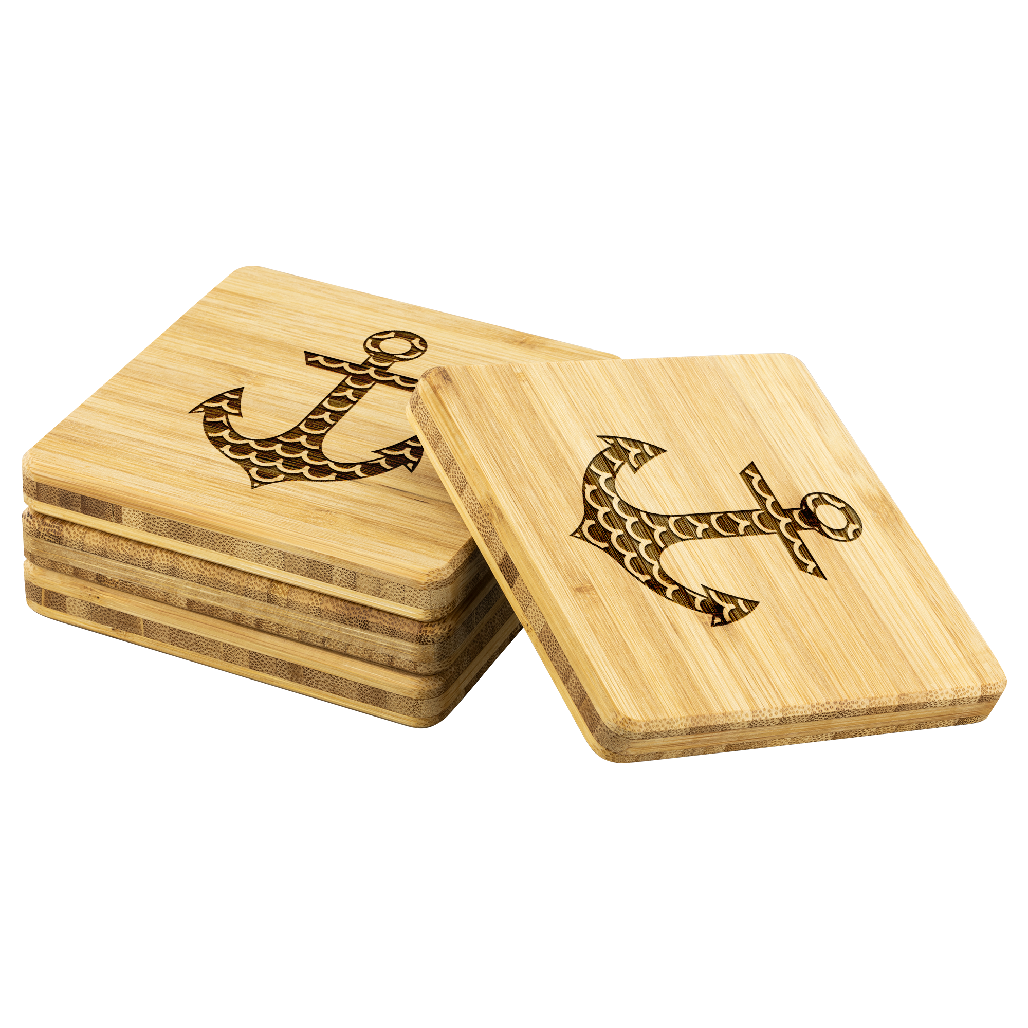 Anchor - Bamboo coaster (set of 4)