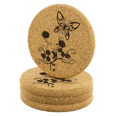 Butterfly - Round Cork coaster (set of 4)