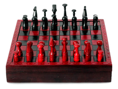 Handcrafted African Wood and Leather Chess Set