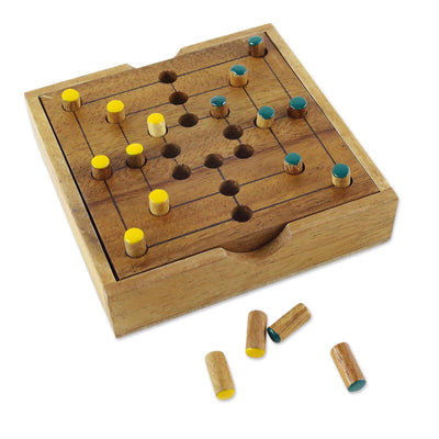 """Strategy Square"" Hand Made Wood Pegs Board Game"