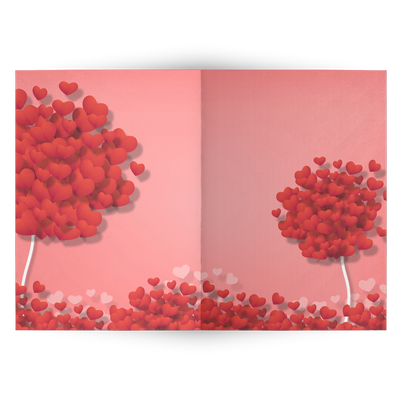 Two trees full of hearts - Folded Greeting card (Pack of 10/30/50 pcs)