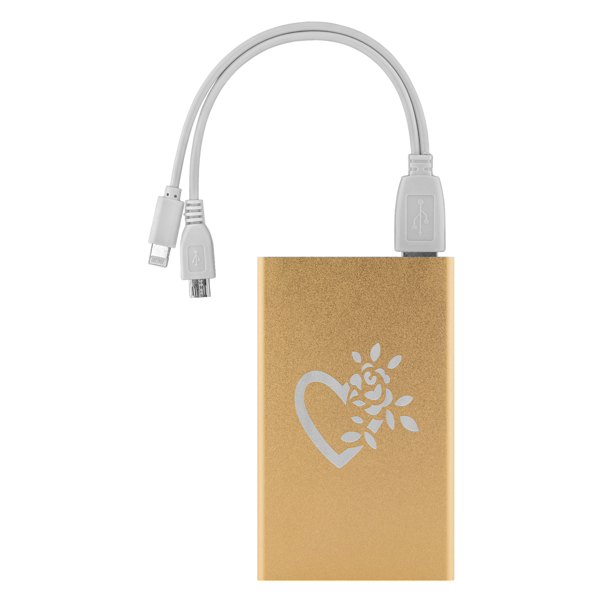 A flowering heart laser etched Lithium-Ion power bank