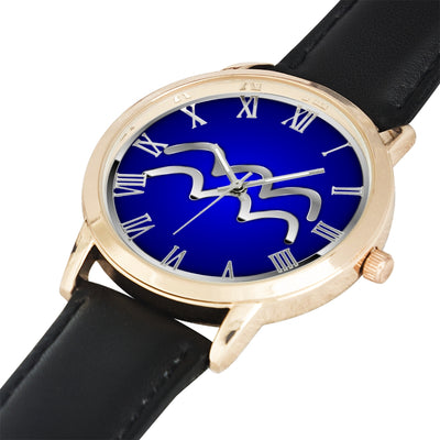 Zodiac Aquarius design genuine Leather 32mm / 38mm automatic water resistant Quartz wrist watch