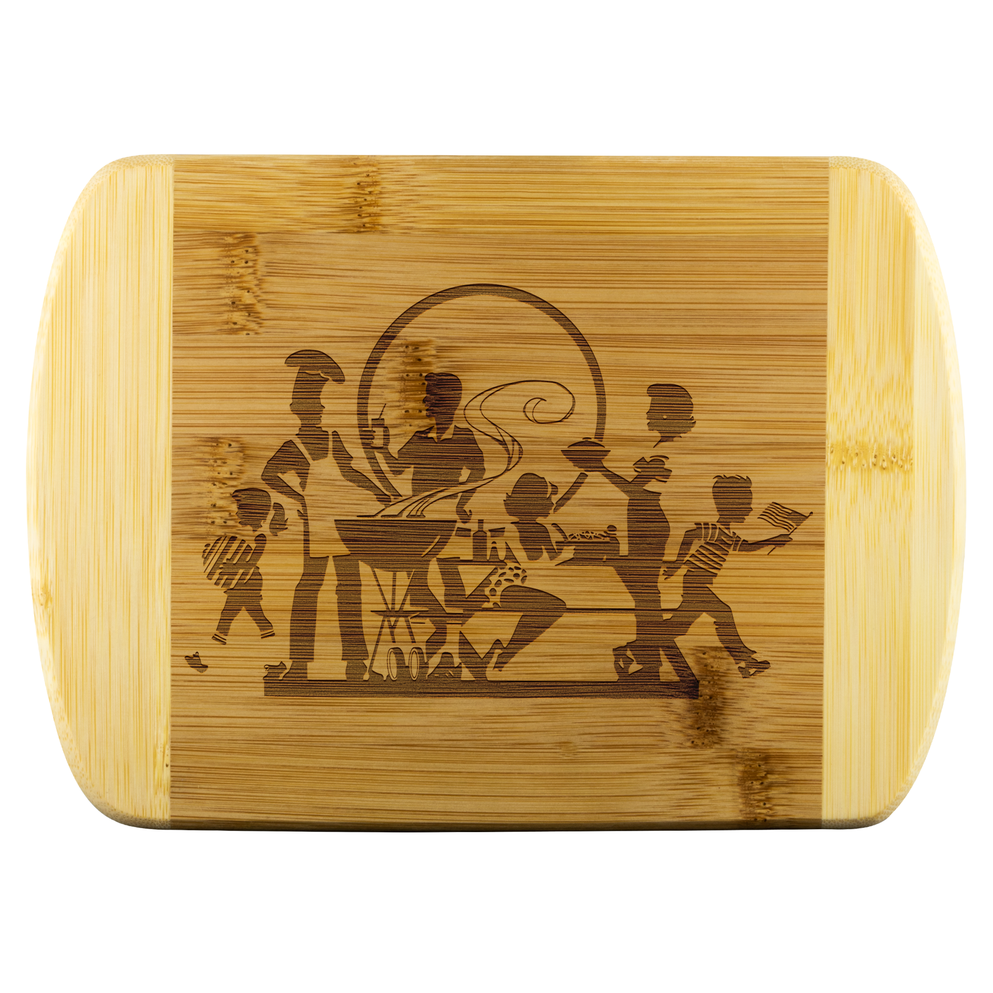 BBQ Family Party - Round Edge Wood Cutting Board