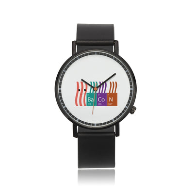 Bacon periodic table - Genuine Leather Strap Water-resistant Automatic Watch