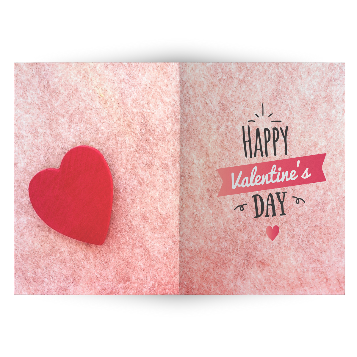 Happy Valentine's day with red heart- Folded Greeting Card (Pack of 10/30/50 pcs)