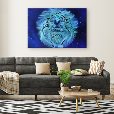 Zodiac Leo Lion face Canvas Wrap wall art
