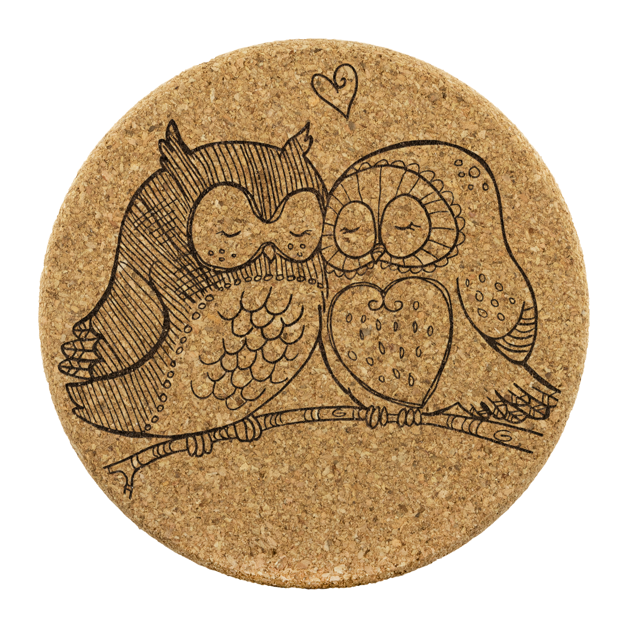 Owl pair in love - Round Cork Coaster