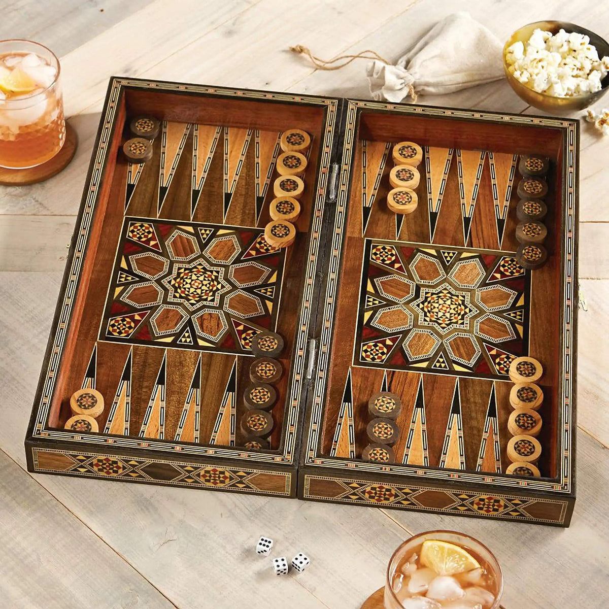 Wood mosaic backgammon set, 'Mesopotamian Match'