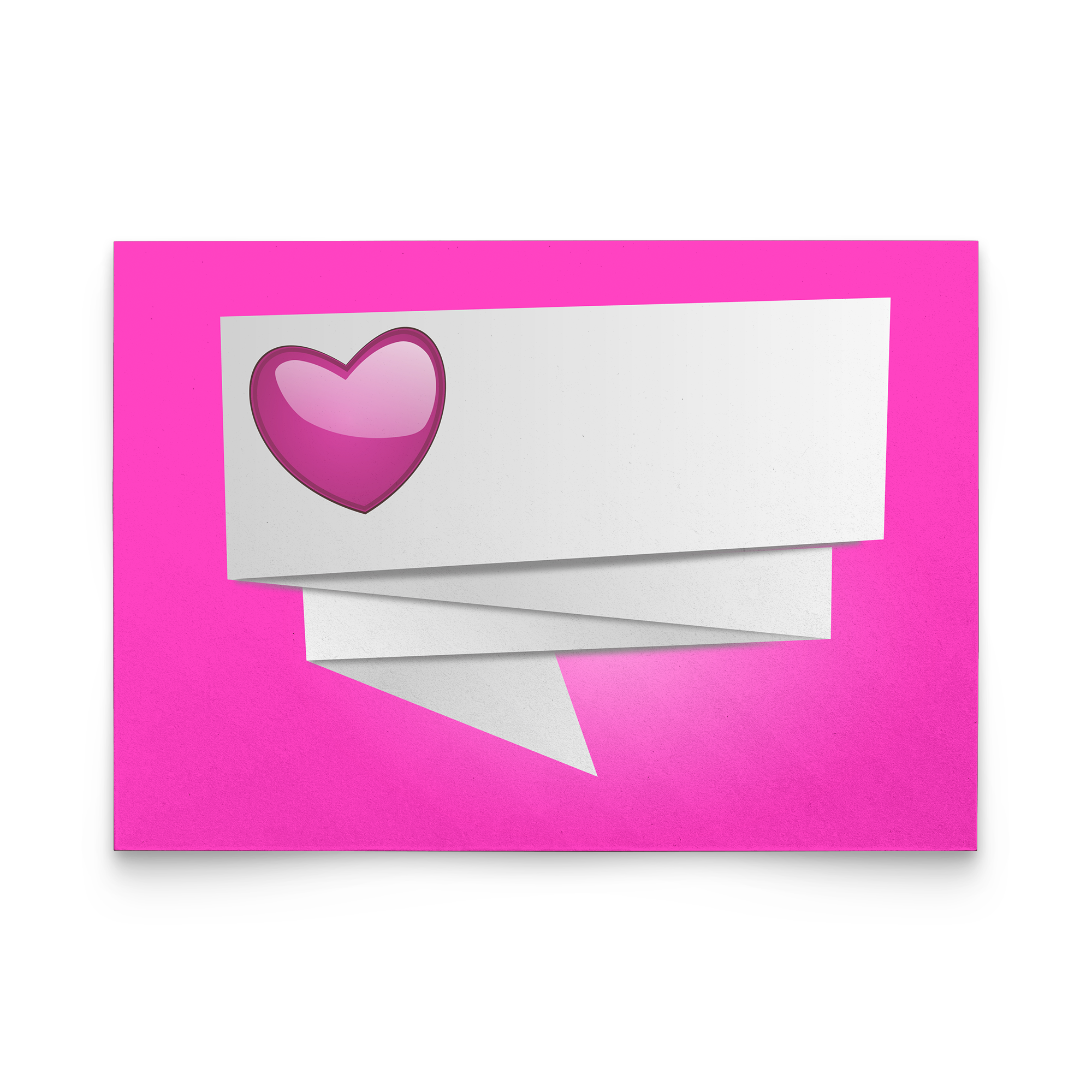 Pearly pink heart with lot blank place to write your name - Flat Greeting Card (Pack of 10/30/50 pcs)