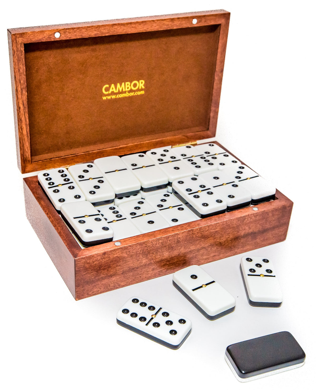 Deluxe Jumbo Size Double Nine Dominoes Set with elegant walnut finish box