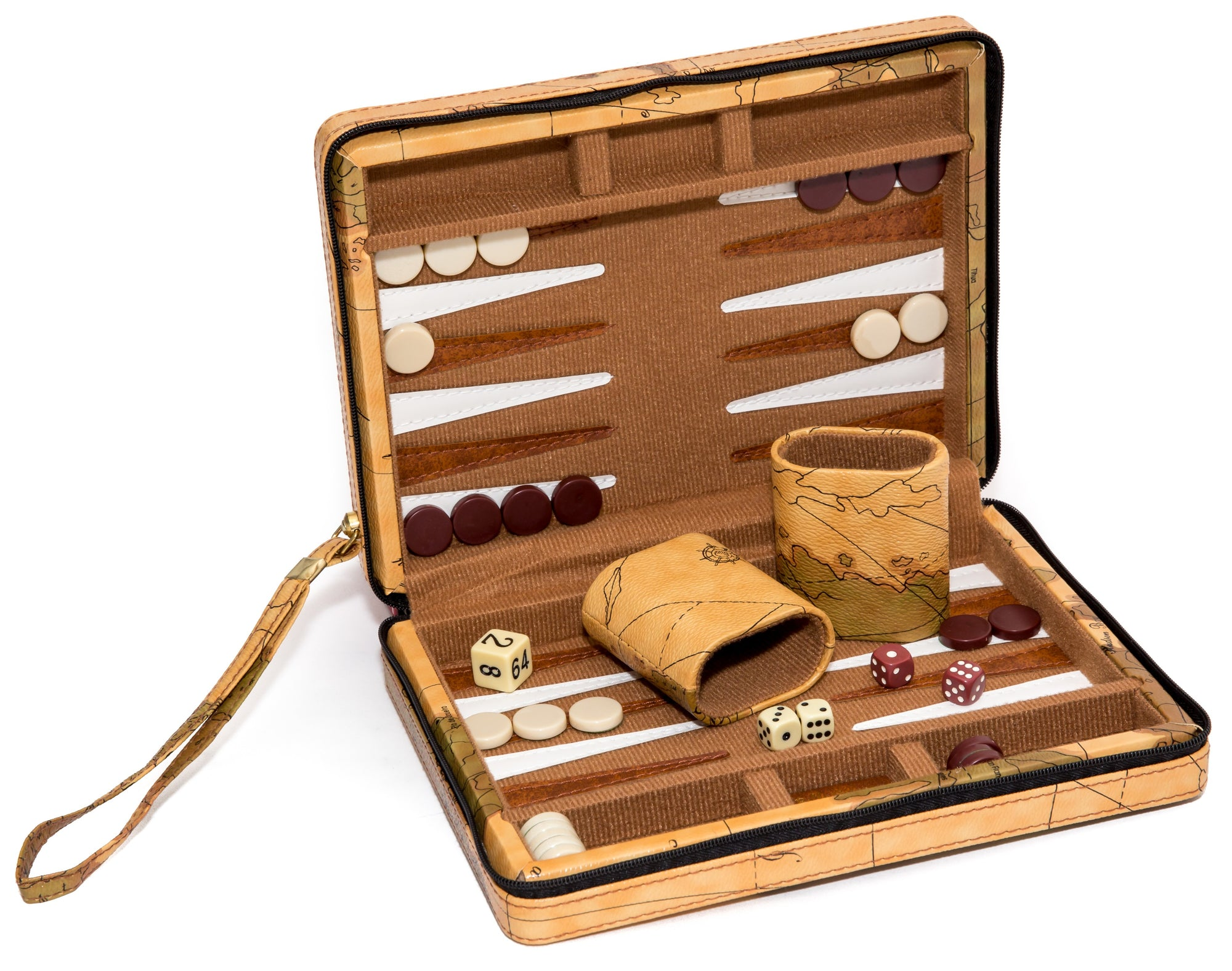 Travel size Zipper Map Backgammon